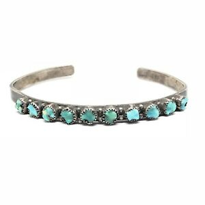 ZUNI-Sterling-Silver-SNAKE-EYE-Carved-Turquoise-Petit-Point-Pawn-Cuff-Bracelet