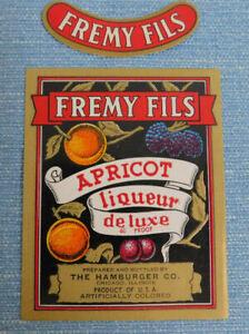 50 Vintage  Fremy Fils Apricot Liqueur Labels & 50 Neck Labels