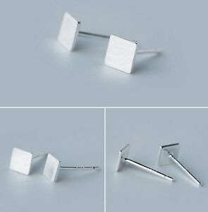 b24525341 925 Sterling Silver 5mm plain tiny Square post stud earrings Gift ...