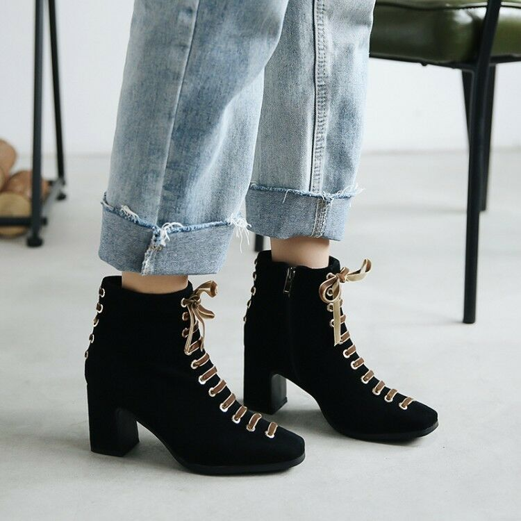 Womens Fashion Suede Leather Ribbon Lace Up Block Heel Ankle Boots shoes Sea198