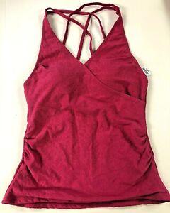 Tropical-Escape-Women-039-s-Surplice-Tankini-Swim-Suit-TOP-Pink-Paisley-Size-20