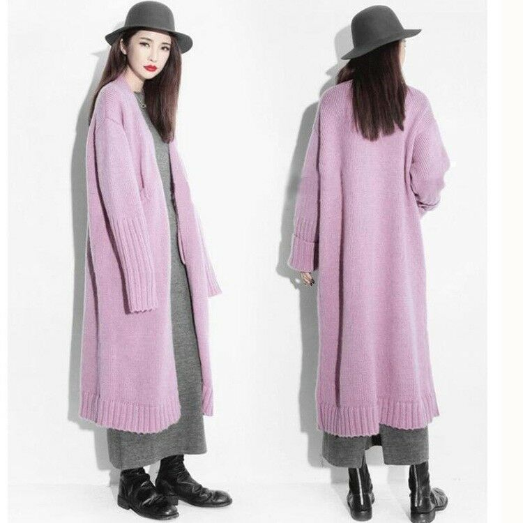 Womens Loose Long Knitted Cardigan Wool Blend Sweater Causal Coats Ladies Parkas