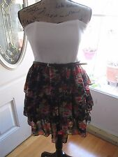 PAPAYA, JUNIOR'S Black/White Poly Strapless Ruffled Floral Above Knee Dress Sz L
