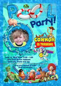 Toy Story Invitation Buzz Lightyear Swimming Pool Party Invite Ebay