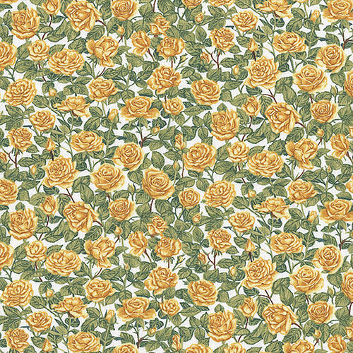 Summer Garden Yellow  Roses Floral Fabric 100% Cotton by Makower  FQ 1288Y