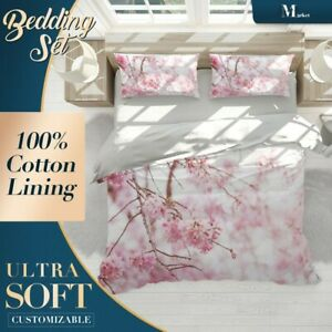 Branches-White-Floral-Flowers-Pink-Doona-Cover-Sets-with-Zipper-And-Pillowcase