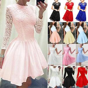 Women-Flower-Lace-Short-Mini-Dress-Pleated-Party-Evening-Bridesmaid-Skater-Skirt