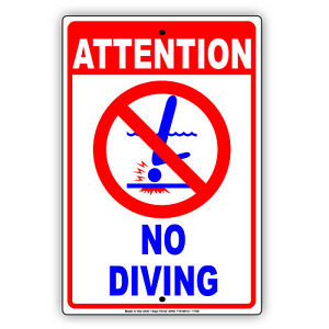 Shallow Water No Diving Allowed Aluminum Metal Sign