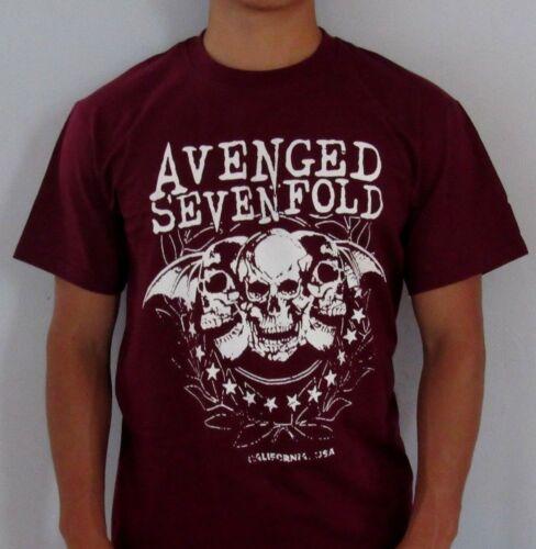 NEW AVENGED SEVENFOLD V METAL ROCK BURGUNDY MEN/'s T SHIRT SIZES