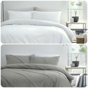 Serene-DART-Easy-Care-Pleated-Duvet-Cover-Set-Bedding-Quilt-White-Grey-All-Sizes