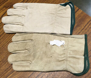New-Genuine-Leather-Work-Gloves-Adult-Medium-Light-Natural-Tan-w-Green-Trim-NR