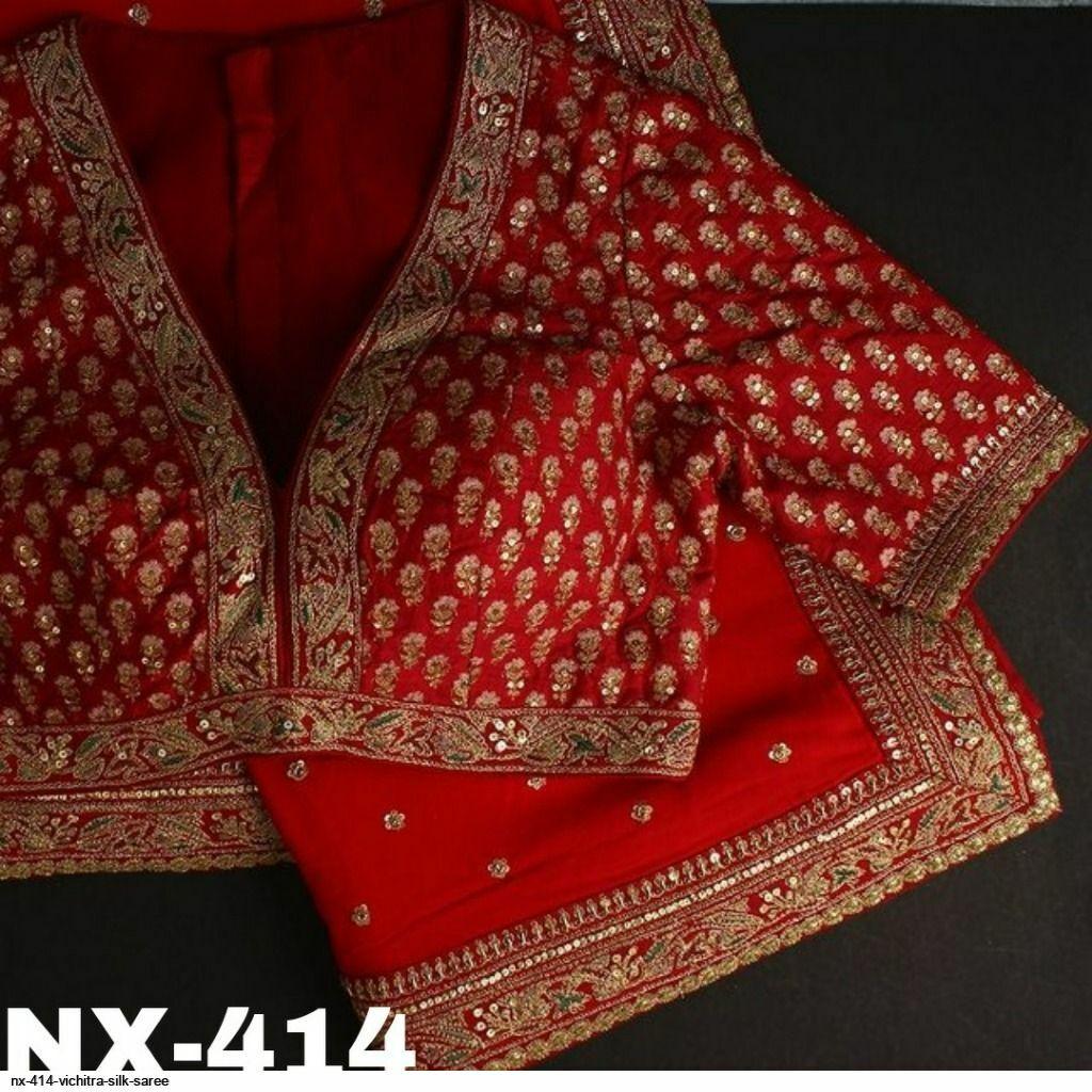 Sequin Work Red Silk Sari Saree Indian Ethnic Wedding Party Wear Designer Thread