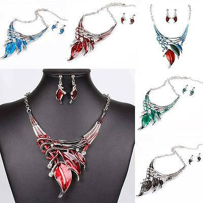 Fancy Statement Necklace + Earrings Nice Chic Big Crystal Jewelry Sets Leaves