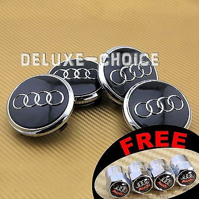 4 Black  Car Alloy Wheel Center Hub Cap Emblem Badge Logo 78mm AUDI 4L0601170