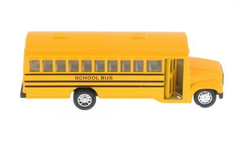 "Kinsfun 6/"" inch Yellow School Bus Diecast Model pull back action openable doors"