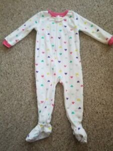 0dc8f93e92 CARTER S White and Pink Heart Print Fleece Blanket Sleeper Girls 24 ...