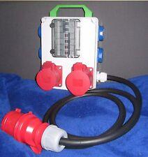 Stromverteiler Adapter 32A auf 1x CEE 32A, 1x CEE 16A und 5x Schuko