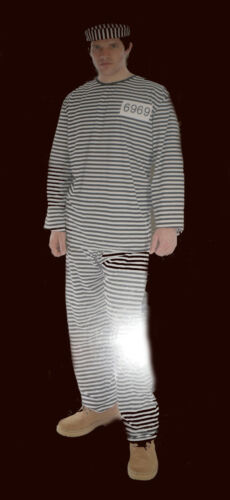 prisoner dressing up outfit fancy dress costume set male mens Men/'s Convict