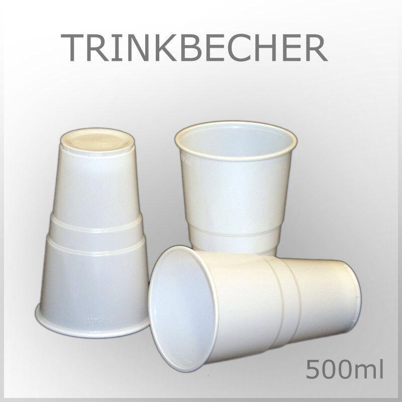 Einweg Becher 0,5l weiss Trink Plastik Gläser Bierbecher stabil  WOW No1130