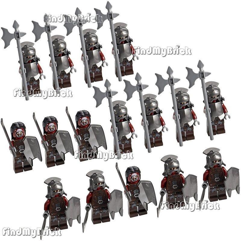 16x Lego Le Seigneur des Anneaux Uruk-Hai minifigs Orc Army-Lot de 16 NEUF 9474 9471