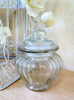 Small Bulb Ribbed Glass Sweet Jar Candy Pot Wedding Table Vintage Decoration