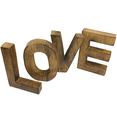 Shabby Chic Large LOVE Letter Blocks Wood Vintage Decorative Ornament Word Sign