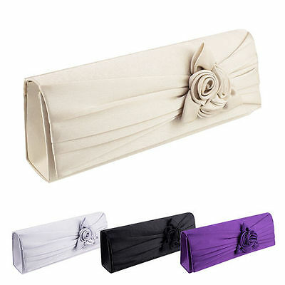 Women's Rose Clutch Bag Party Wedding Evening Purse Bridal Handbag Soft Satin