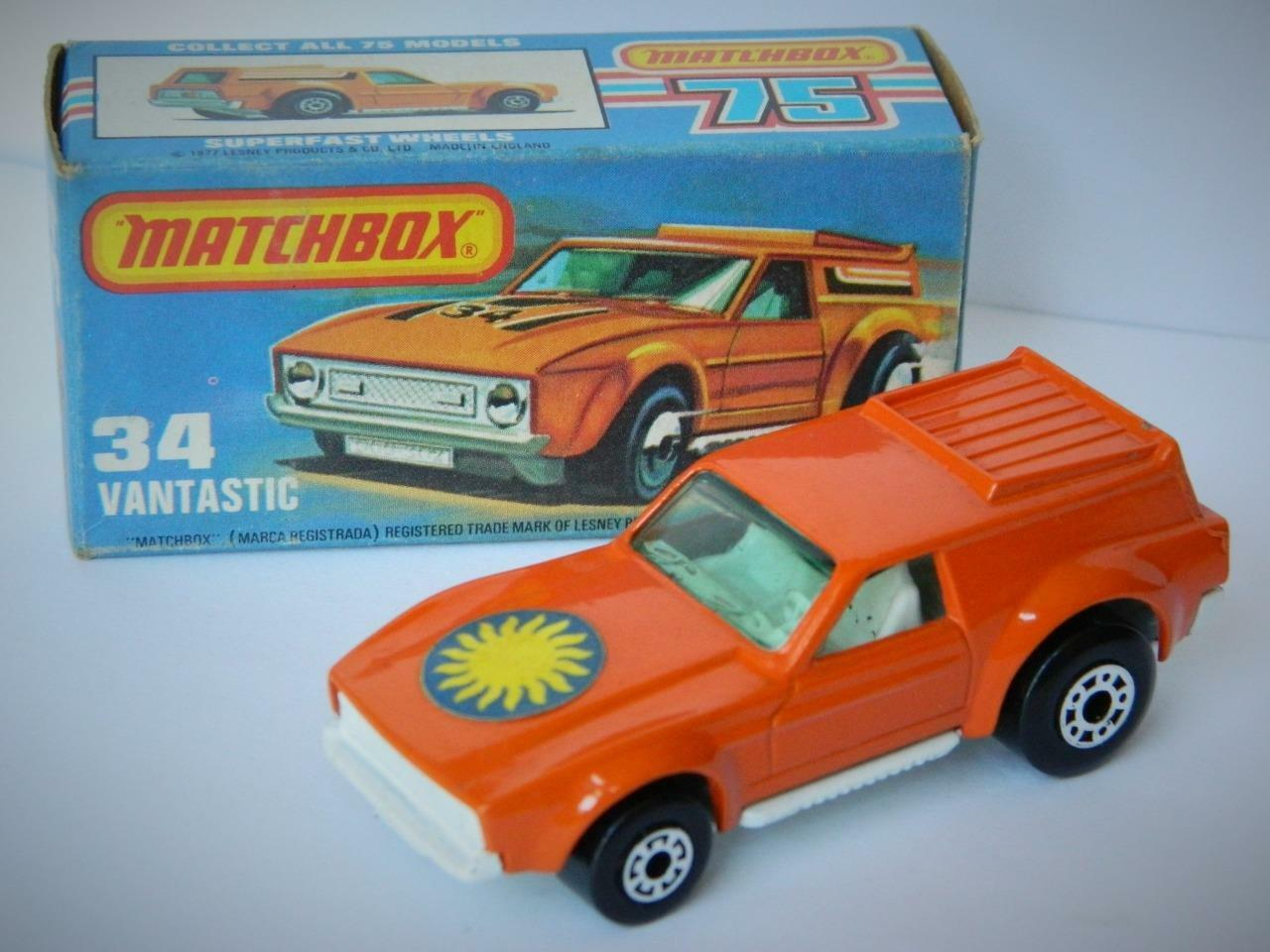 MATCHBOX LESNEY SUPERFAST Sunburst étiquette Sun Vantastic 34 VNM en VNM K Box 1978