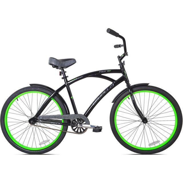 Mens Bike 26 Black Green Kent La Jolla Beach Cruiser Aluminum Frame Bicycle