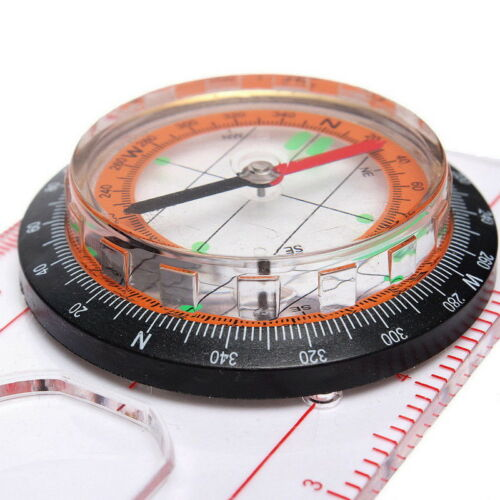 Magnifying Compass Ruler Scale Scout Hiking Camping Boating Orienteering Map NE8