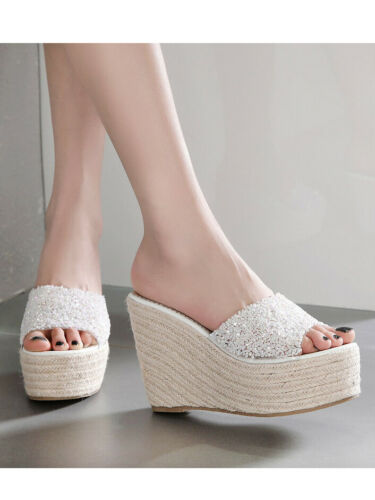 Sandals Slippers White Leather Synthetic Sabot Rope Cord Wedge 12 cm Sea