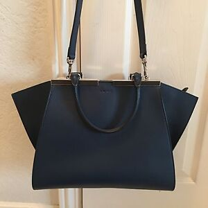 913afa935974 Image is loading 2-800-Authentic-Fendi-3-Jours-Dark-Navy-