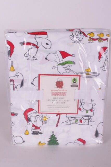 Nwt Pottery Barn Kids Peanuts Holiday Queen Cotton Sheet