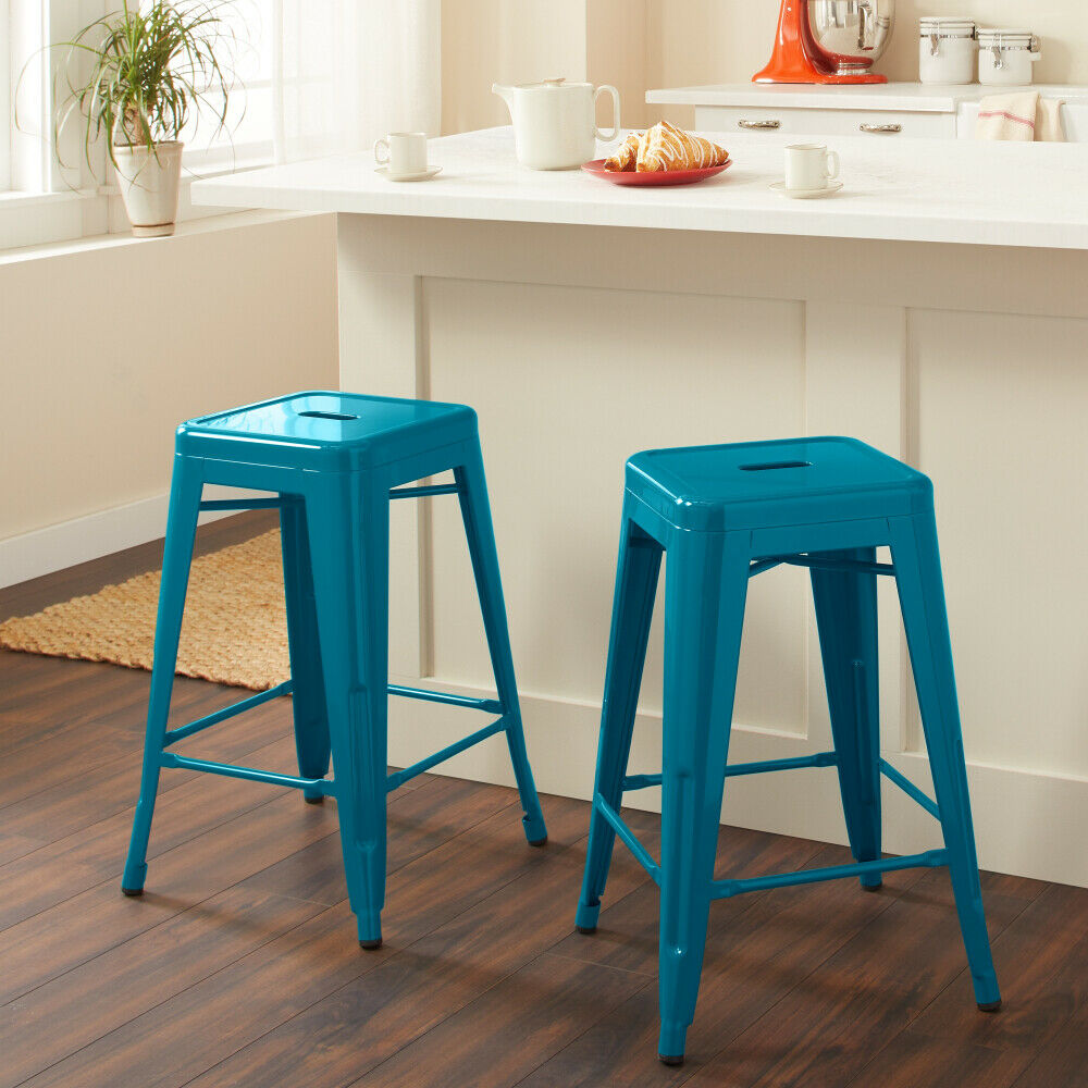 Magnificent Set Of 2 Peacock Teal Blue Counter Bar Stools Sturdy Metal Stackable Assembled Machost Co Dining Chair Design Ideas Machostcouk
