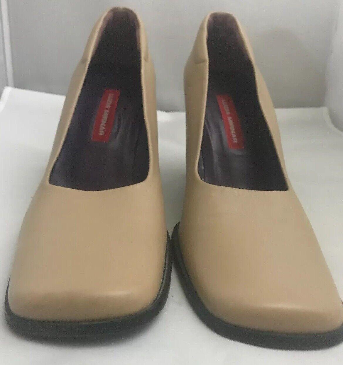 Luzia Mirnar Women's Tan Leather Square Toe Pumps… - image 2