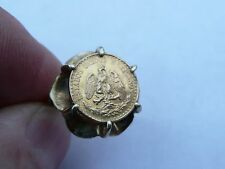 SUPERB LADIES SOLID 22K GOLD MEXICAN DOS PESO 1945 COIN RING SIZE N 17.18MM DIA