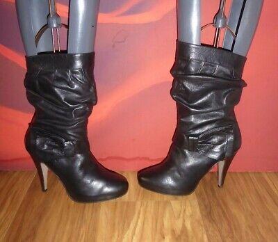 *80* River Island Black Leather Ankle Platform Boots Eu 38 Uk 5