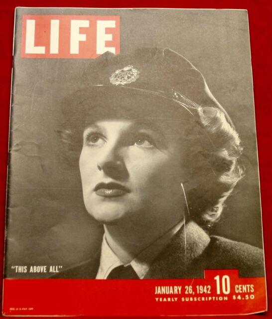 Life Magazine January 26, 1942 Nash Auto, Schlitz Beer Near Mint Condition