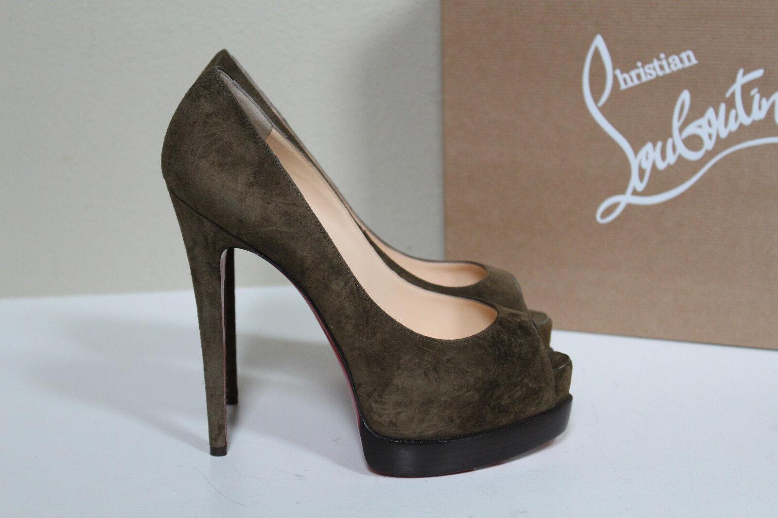 New Christian Louboutin Palais Royal Brown Suede Platform Pump shoes sz 7   37