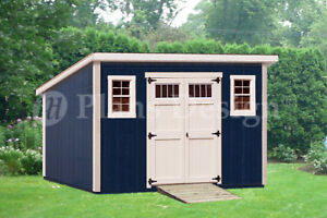 Shed plans 10 39 x 14 39 deluxe modern roof style d1014m for Free shed design software with materials list