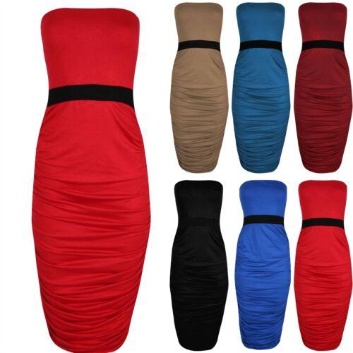 Ladies Womens Plain Ruched Strapless Boob Tube Bodycon Stretch Midi Long Dress