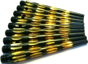 9-x-ALLOY-ALUMINIUM-FACETED-BLACK-GOLD-DARTS-STEMS-SHAFTS-3-sets-47-mm