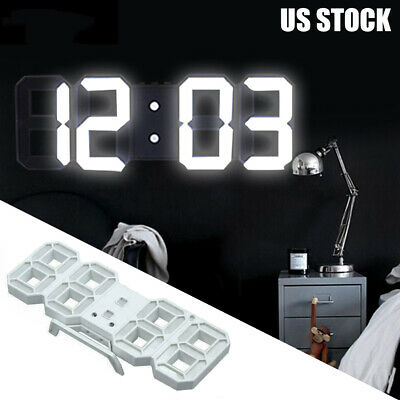 Digital 3D LED Big Wall Desk Alarm Clock Snooze 12//24 Hours Auto Brightness US E