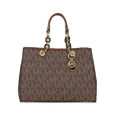 Michael Kors Cynthia Medium PVC Logo Satchel Handbag in Brown