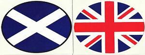 Set of 2 Scotland & Union Jack Flag Oval External Car Bumper Sticker Decals