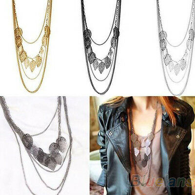 WOMEN MULTI-LAYER NECKLACE BOHEMIA LEAF PENDANT LONG SWEATER CHAIN EXQUISITE