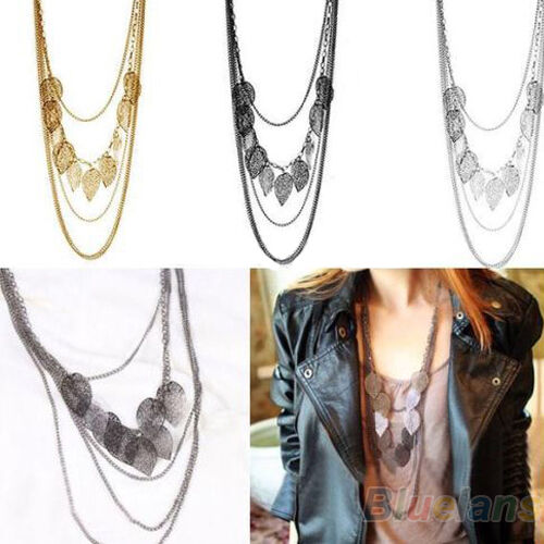 Women Multi-layer Necklace Bohemia Leaf Pendant Long Sweater Chain Charming New