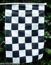 """BLACK & WHITE CHECKERED HAND FLAG 18"""" X 12"""" WITH 24"""" WOODEN POLE MOTOR SPORT"""