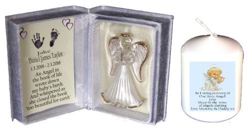 Baby boy memorial Angel Keepsake poème boîte gratuite personnalisé Cellini Candle CD10