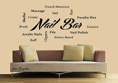 Nail Bar Nails /& Beauty Salon  Wall Art Vinyl Transfer Decal Mural Sticker